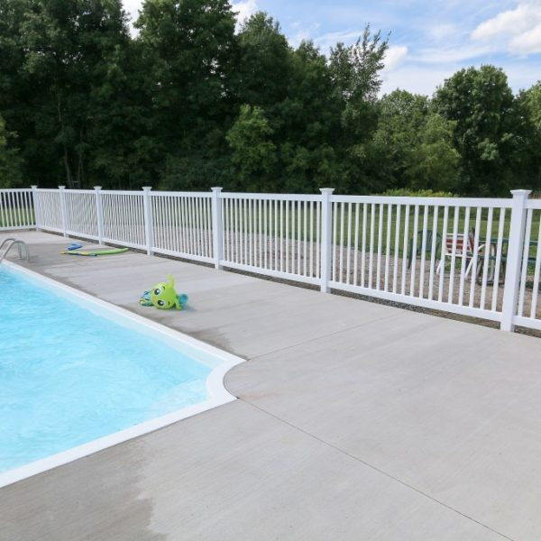 White vinyl pool fencing