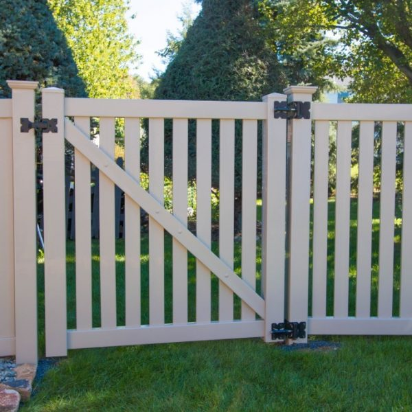 Tan vinyl fence gate