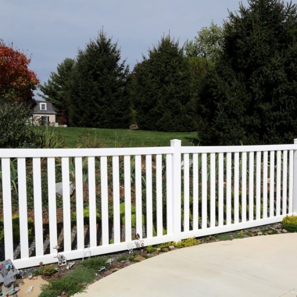 White vinyl guard railing fencing