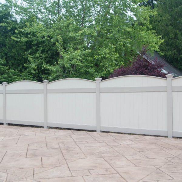 Tan Custom Fence Design in Vinyl