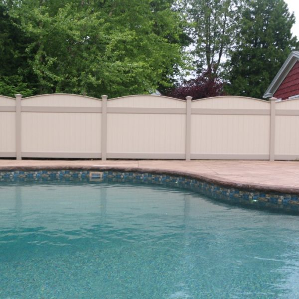 Custom Vinyl Pool Fence in Tan