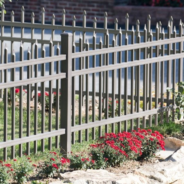 Brown Aluminum Regis Yard Fencing with Spikes