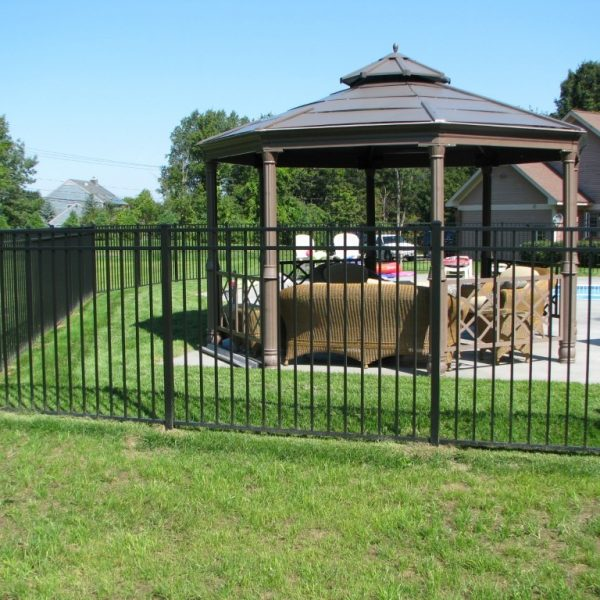 Yard with Black Aluminum Regis Fence