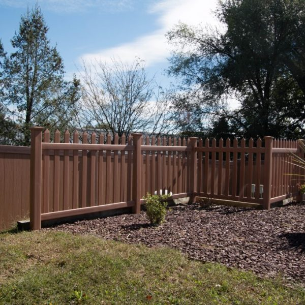 Vinyl Herkimer Straight Top Fencing in Brown