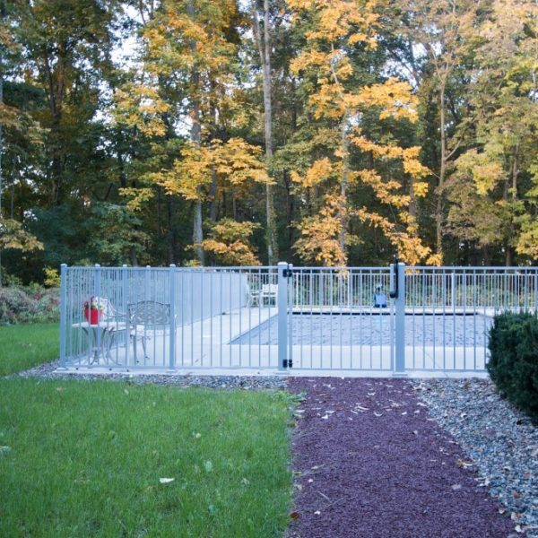 White Aluminum Backyard Regis Fencing