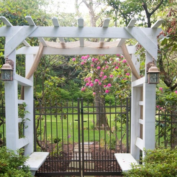 Regis Aluminum Brown Fencing with Arbor