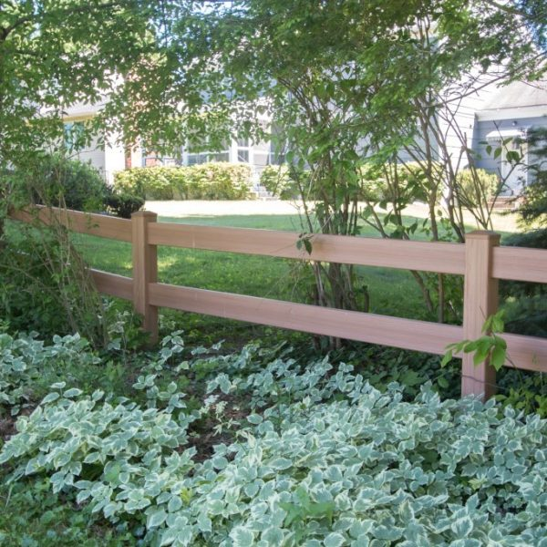 Brown 2-Rail Horse Fence in Vinyl