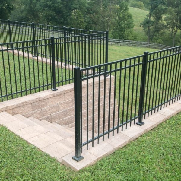 Black Aluminum Regis Fence Two Level Yard