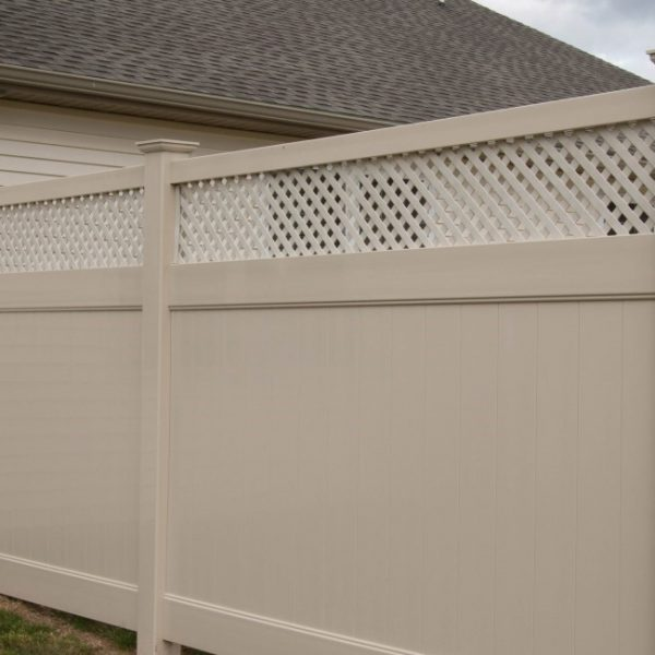 Tan Fulton Privacy Fence with Lattice Top