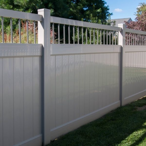 Fence with Fulton Privacy Alum Spindle Top