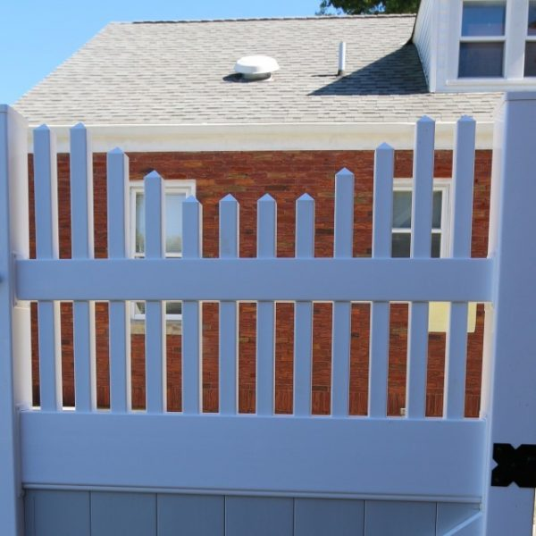 White Franklin Concave Top on Fence Gate