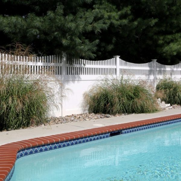 White Vinyl Fencing with Franklin Concave Top