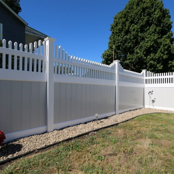Franklin Step Top Vinyl Fencing in Tan