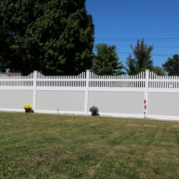 Franklin Step Top on Tan Vinyl Fencing