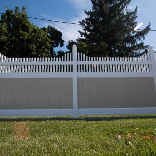 Vinyl Fence in Tan with Franklin Step Top