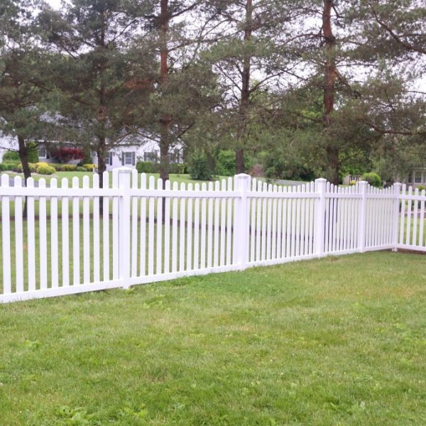 Vinyl Fencing with Hamilton Concave Top in White