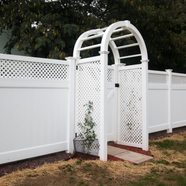 White Fulton Privacy Fence with Lattice Top