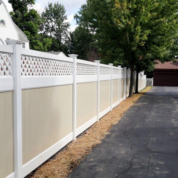 Vinyl Fulton Privacy Lattice Top Fence in Tan