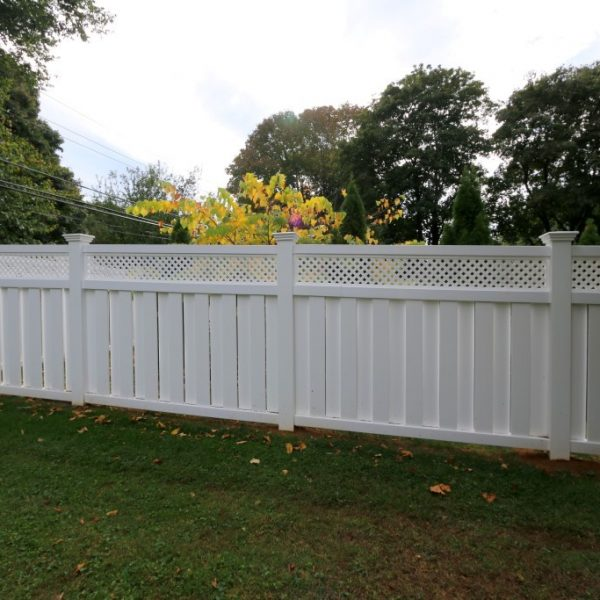 Customized white vinyl backyard fencing
