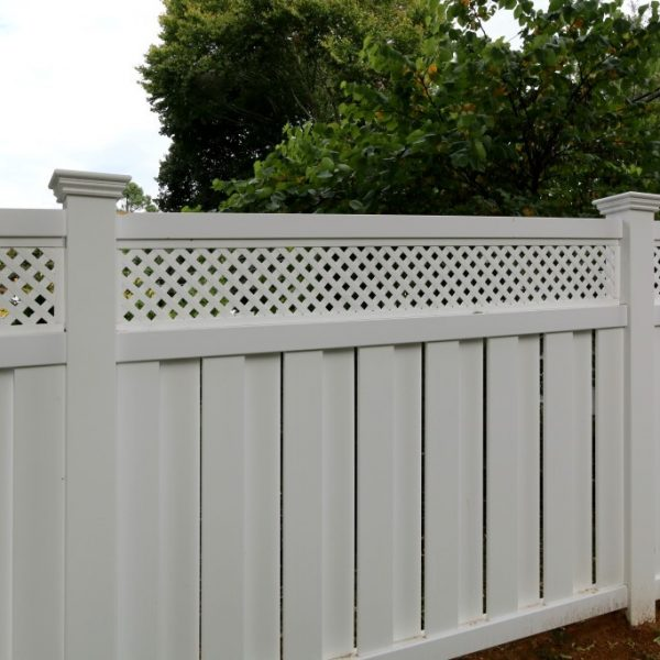 Customized white vinyl fence