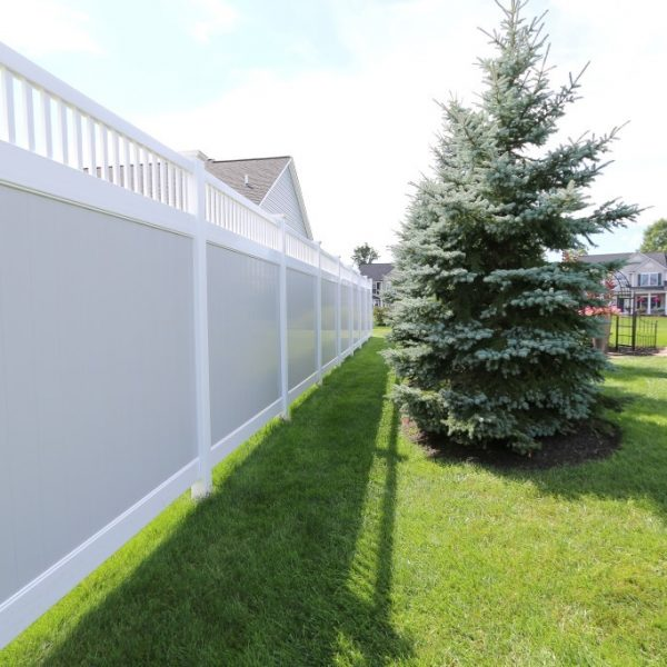 Tan Fulton Privacy Fence with Vinyl Spindle Top