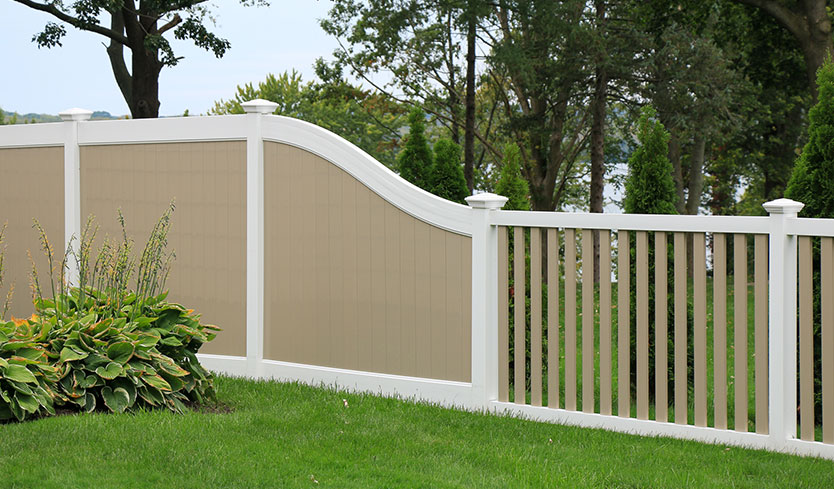 custom tan and white picket fence