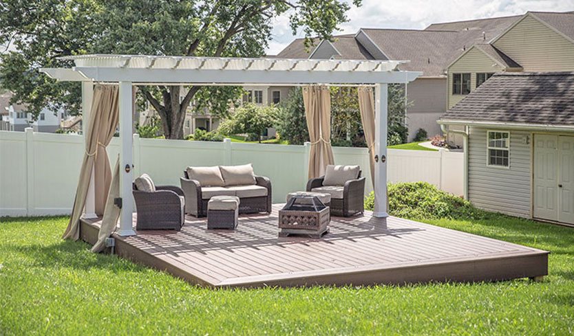 privacy pergola with a wrap around curtain