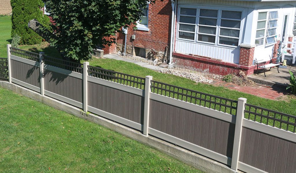 custom maintenance free vinyl fence with aluminum top