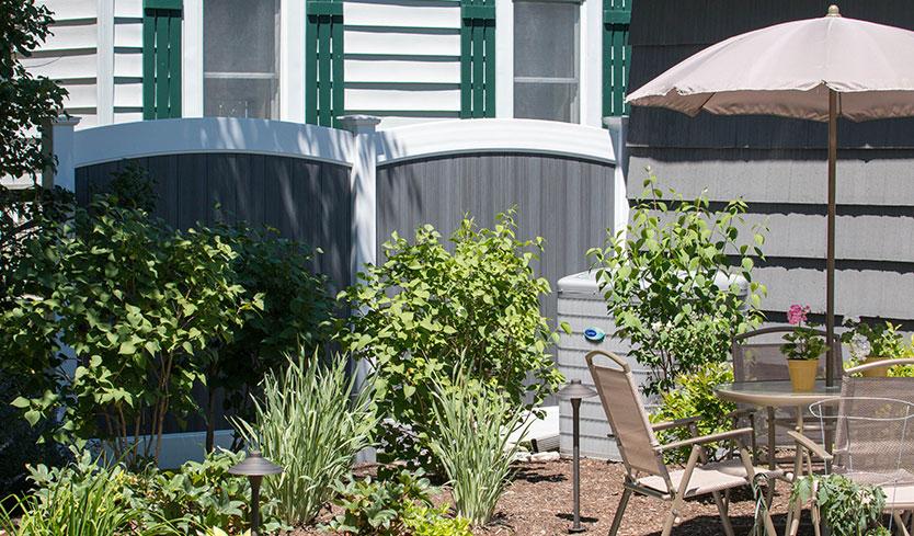 slate and white vinyl fences