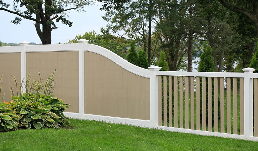 tan and white vinyl fences