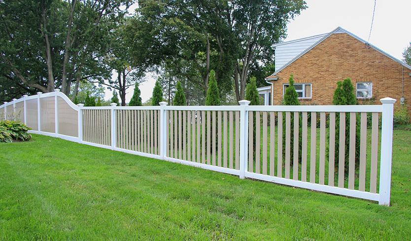 two-tone vinyl fences
