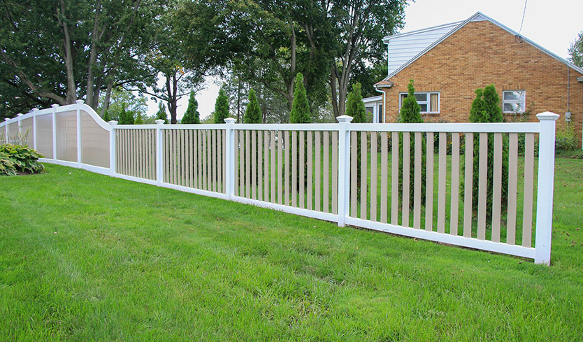 white and tan fence design