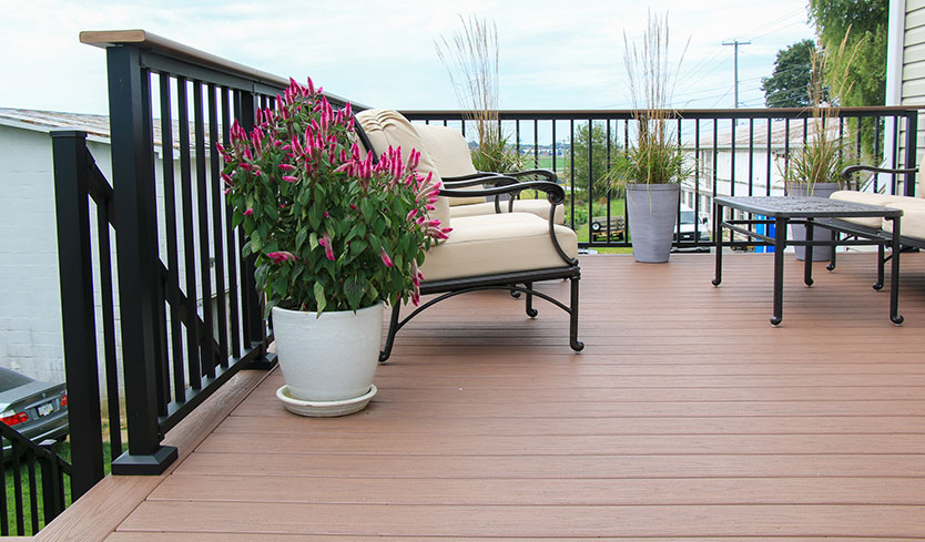 deck updated with flower planters