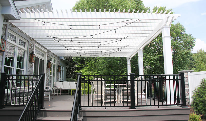 diy pergola installed with deck makeover